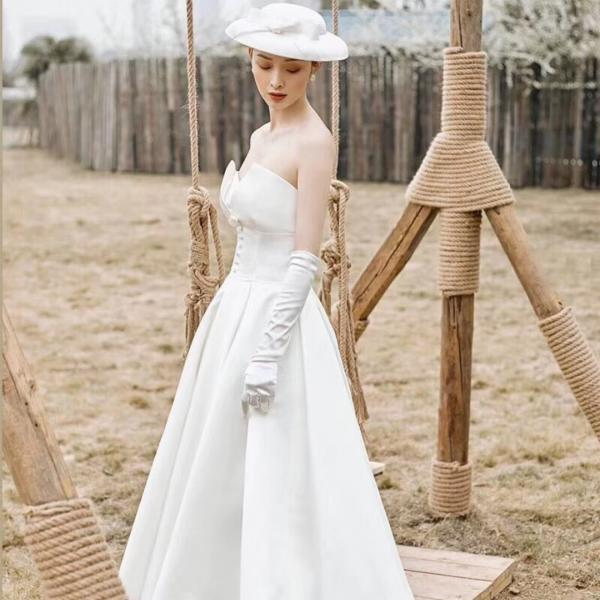 Bride wedding dress A-line tail wedding dress