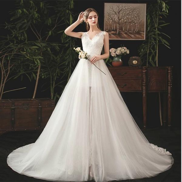 Women's White Mermaid Wedding Dress-Two Slim Wedding Dresses with Detachable Tail