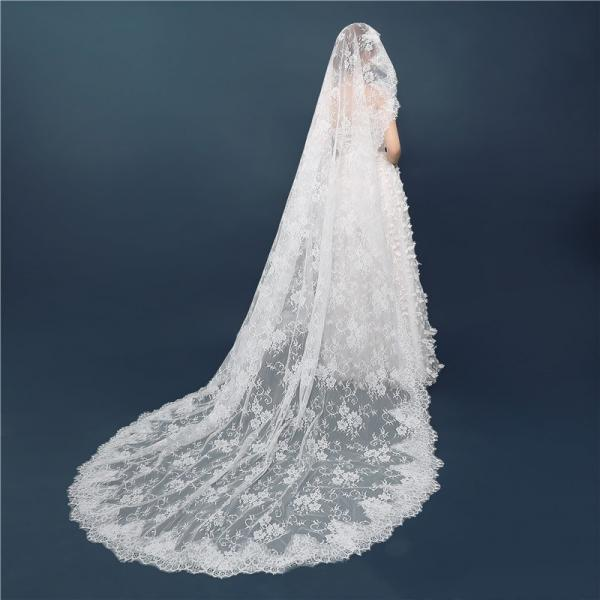 Bride retro Korean lace long tail veil bridal veil