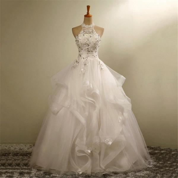 Ball Gown Wedding Dresses Lace Halter Ivory Crystal Tulle Organza Bride Dresses Custom Made Wedding Gown