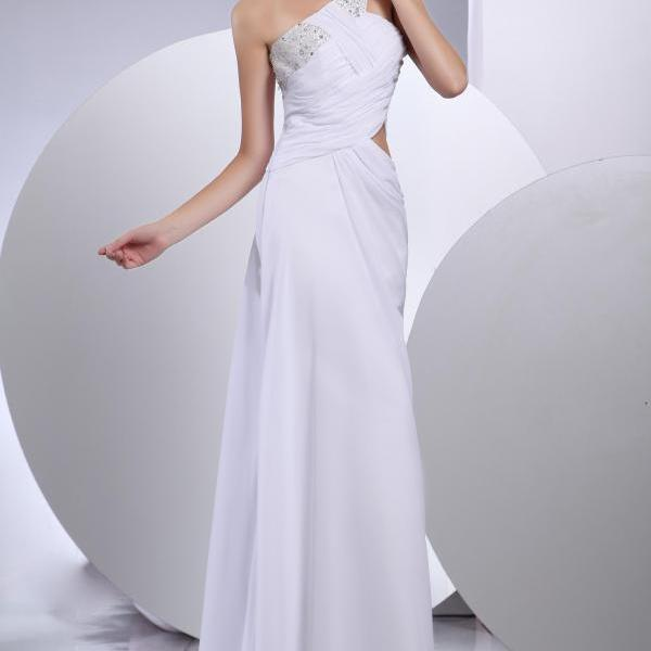 Women chiffon one-shoulder prom party white dress