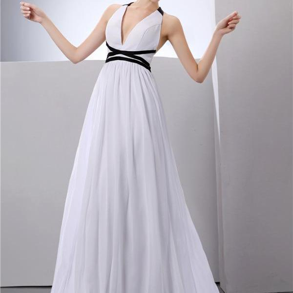Women's Chiffon Ball Dress V-neck White Long Dress