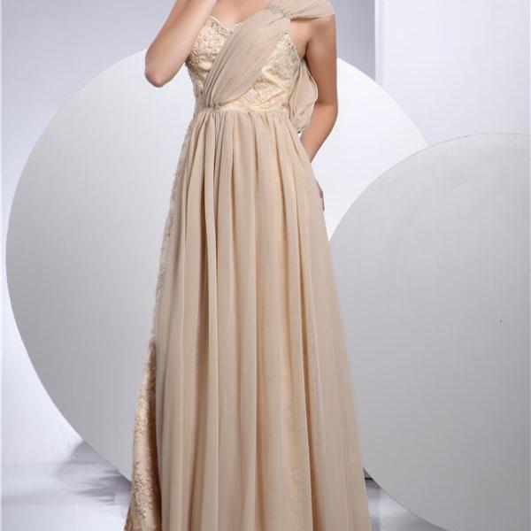 Women's lace evening dress champagne color ball gown