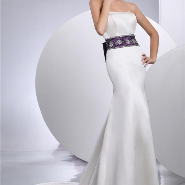 Women white satin wedding dress bridal gown