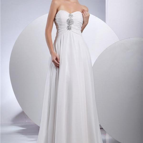 Wedding dress beach bridal dress chiffon wedding dress strapless bridal dress
