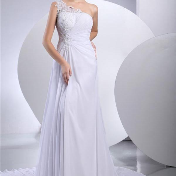 Women's Wedding Dress One Shoulder Chiffon Wedding Dress