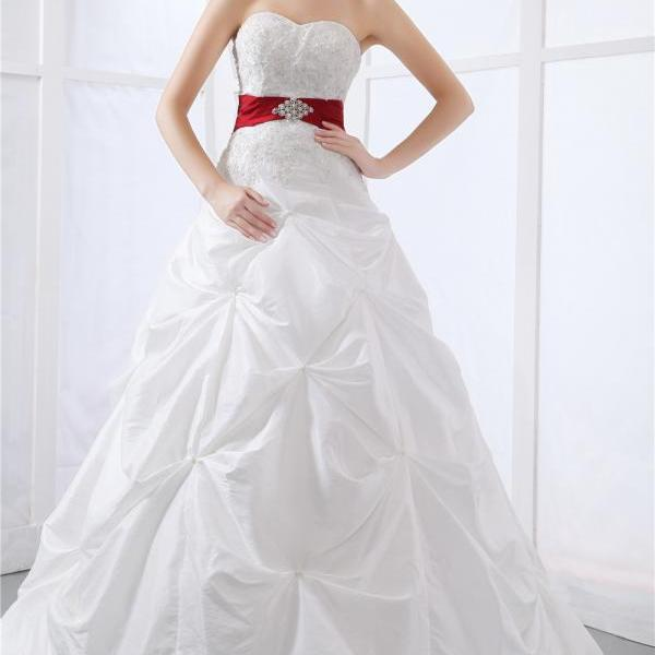 Bridal wedding taffeta bridal lace pleated gown