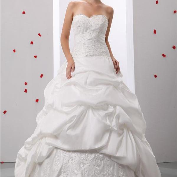 Strapless Prom Dress Wedding Lace Applique Bridal Gown