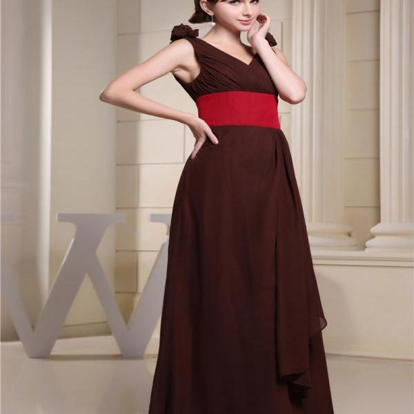 Women's Chiffon Wedding Party Bridesmaid Prom Dress V Neck Dress