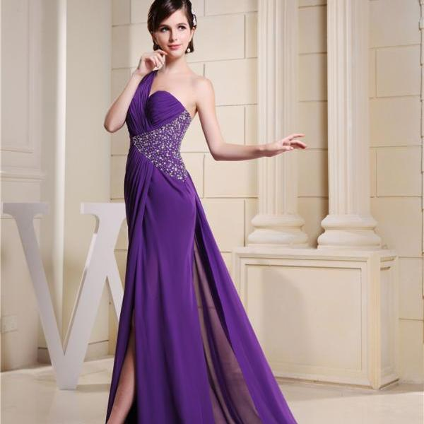 Chiffon one-shoulder bridesmaid dress long XL formal dress, suitable for ladies' wedding evening dresses