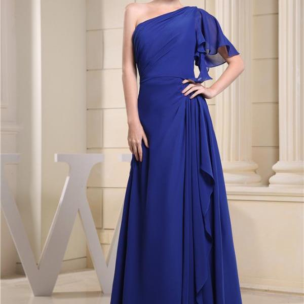 Pleated Sleeve Bridesmaid Dress Chiffon Long Formal Wedding Evening Dress