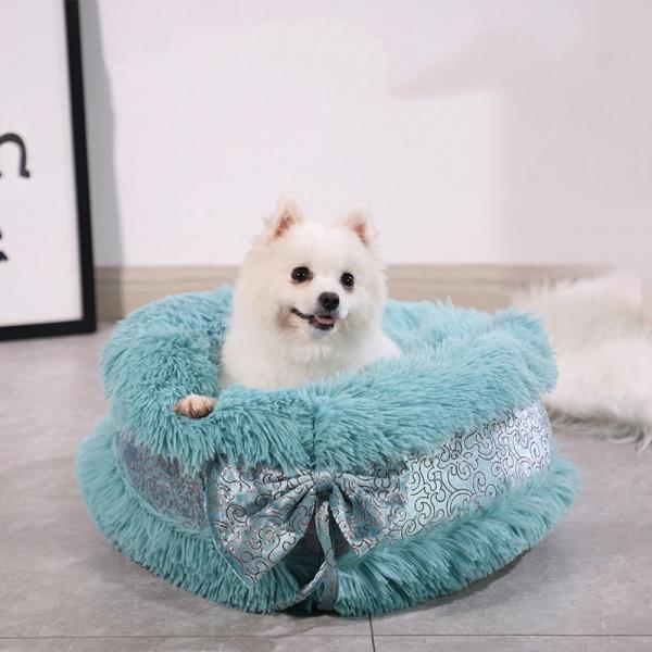 Cat litter winter warm round plush kennel bow cute princess cat litter pet litter pet supplies