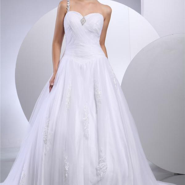Bridal satin wedding dress cathedral wedding dress