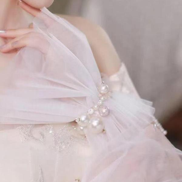 Bridal gloves 2021 new pearl super fairy bridal wedding gloves