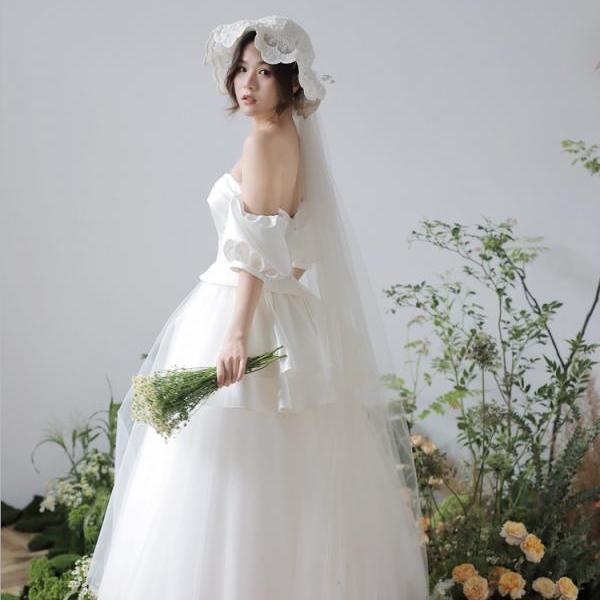 Simple satin slimming wedding bridal tube top dress