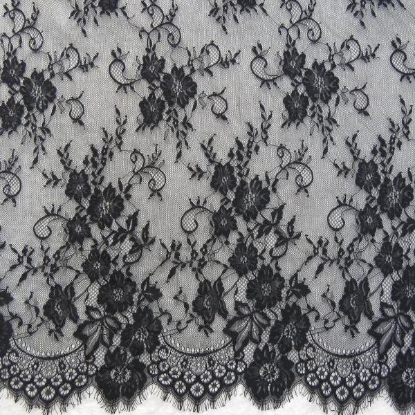 Ivory Lace Fabric Eyelash Chantilly Floral Bridal/Wedding Dress Flower African Lace Table Runner Tablecloth DIY Crafts Scallop Trim Applique Ribbon Curtains 300cmx150cm