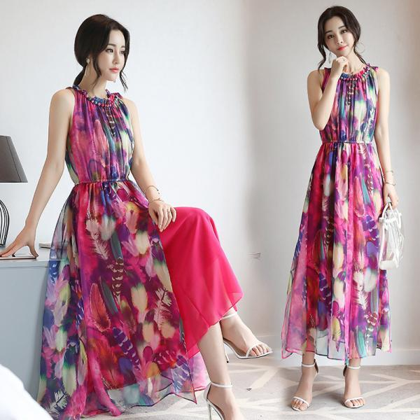 Long printed chiffon dress bohemian seaside vacation vest beach women's clothing