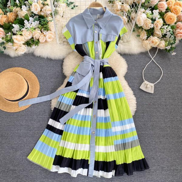 Women's irregular color-blocking lace-up waist pleated long dress