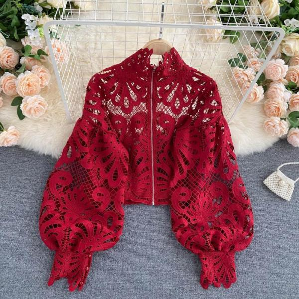 Lace Hollow Top Puff Sleeve Loose Sexy Short Shirt