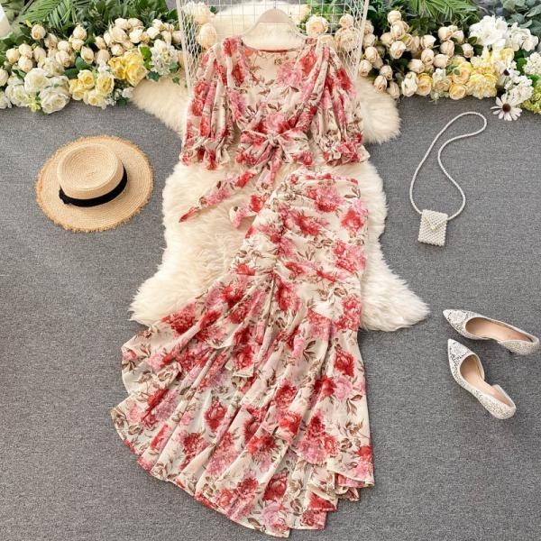 Two-piece suit women short lace-up chiffon shirt sexy fishtail skirt
