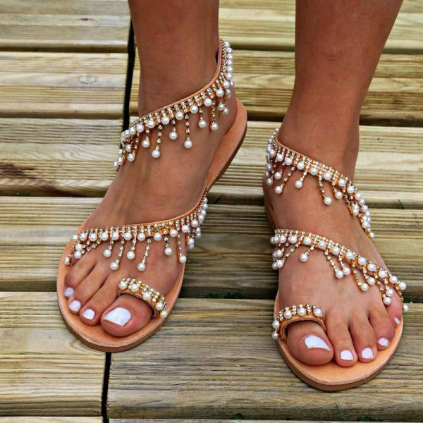 Roman pearl sandals European and American handmade beaded flat sandals women
