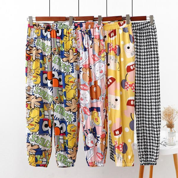 Beach pants women's summer high waist loose casual pants printed straight bloomers