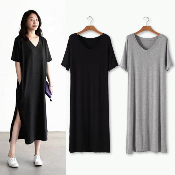 Modal Long Skirt Short Sleeve Loose Split V-neck Pocket Fat mm Large Size Thin Dress