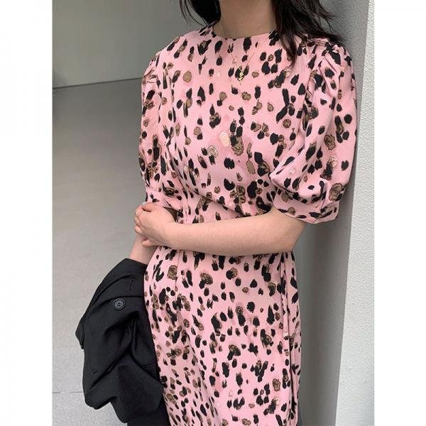 Pink Leopard Print Puff Sleeve Dress Round Neck Long Skirt Mini Dress