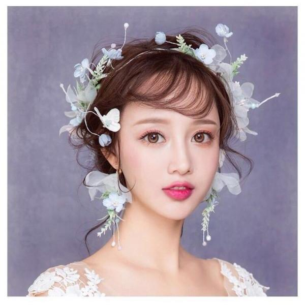 Bridal headdress wreath Sen system fairy head flower fairy blue butterfly flower photo birthday dress accessories